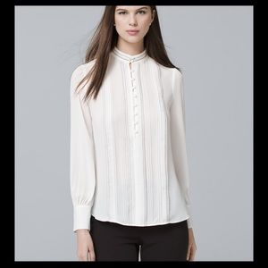 WHBM Pintucked Button Front Blouse